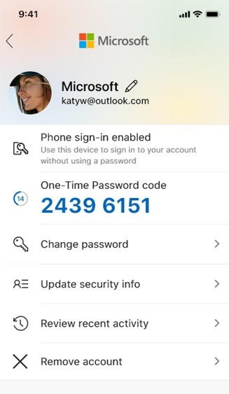 Microsoft Authenticator account overzicht